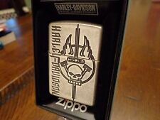 HARLEY DAVIDSON ANTIQUE SILVER PLATE ARMOR CASE ZIPPO LIGHTER MINT IN BOX