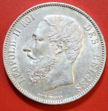 Belgien: 5 Francs 1873 Silber, KM# 24,  Leopold II, F# 2857, VZ-XF, fast ST-BU!!