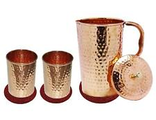 Combo|Copper Hammered Water Jug|Pitcher + Drinking Glass|Serving|Table Decor