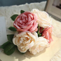 Artificial Fake Wedding Bouquet Home Party Ivory Rose Flower Decor Decoration