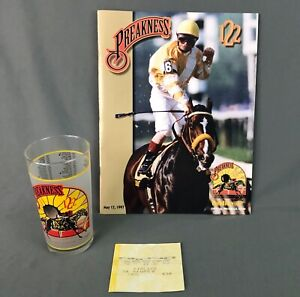 1997 Preakness 122 Official Program and Souvenir Glass Bet Ticket Silver Charm