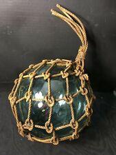 "Vintage Large Roped Blue Green 9"" diameter Glass Fishing Float Netting"