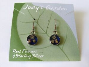 Jody Coyote 925 Sterling Silver And Real Flowers Dangle Earrings - New