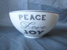 4 CIROA China Silver Gray PEACE LOVE JOY Dinnerware Bowls CHRISTMAS