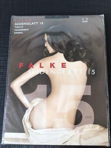 FALKE SHINING 15 DEN women's Black Transparent tights Small Brand New & Sealed