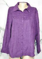 CROFT & BARROW Purple Embroidered Pattern Shirt Blouse Large Long Sleeves