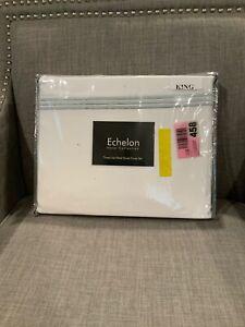 NIP Echelon Three Line Hotel Collection King Duvet Cover Set - Silver Blue