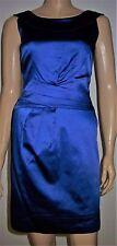 SPOTLIGHT WAREHOUSE Blue Satin V Back  Round Collar Pencil Party Dress Size 8