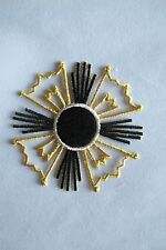 "#2854 3"" Gold,Black,Silver Sun Embroidery Iron On Applique Patch"