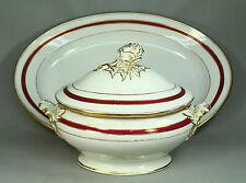 *1800's Old Paris Porcelain Lg Covered Serving Tureen & Platter Artichoke Finial