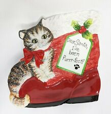 """Candy Plate FITZ & FLOYD Claus and Paws Kitty """"Dear Santa, I've Been Purrfect"""""""