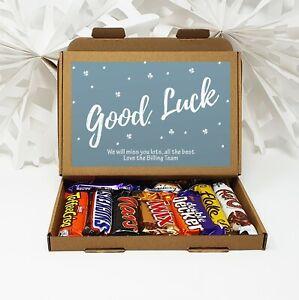 Personalised Good Luck New Job Tea Treat Box Hamper Biscuits Hug in a box coffee