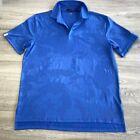 RLX Ralph Lauren Mens Golf Polo Shirt Blue Camouflage Moisture Wicking Buttons L