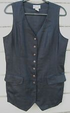 Pappagallo Black 100% Linen Fully Lined Hip Length Sleeveless Jacket Vest Wms 12