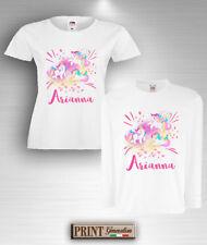 1019e30e33a627 T-Shirt UNICORNO con NOME PERSONALIZZATO Maglietta Idea Regalo Donna Bambina