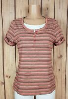 CROFT & BARROW Womens Size Medium Short Sleeve Shirt Striped Print Cotton Top