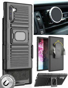 Black Rugged Case + Belt Clip + Magnetic Car Mount for Samsung Galaxy Note 10