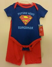 """NWT Boys """"Future Hero Superman"""" Shirt one-piece and Pants set Size 6/9 Months"""
