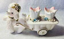 Vintage Enesco Poodle Cart Lipstick/Candleholder E-2160 Pastel Flowers Mcm Gold