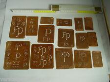 15 x FP Merkenthaler Monogramme, Kupfer Schablonen, Stencils, Patrons broder