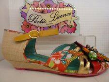 Poetic Licence by Irregular Choice Gem Tropics Gold Floral Wedge Ladies Shoe