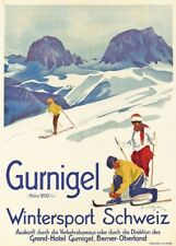 Vintage Ski Posters GURNIGEL WINTERSPORTS, Swiss, 1921, Art Deco Travel Print