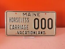 """Vintage MAINE """" Horseless Carriage """" SAMPLE License Plate Vacationland 000 -RARE"""