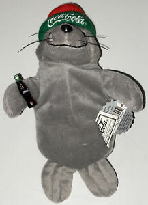 1998 Coca Cola Winter Seal #0114 Bean Bag Plush Red Green Hat Cap Coke Bottle