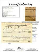 Branch Rickey JSA Coa Autograph 1919 Players Release Hand Signed
