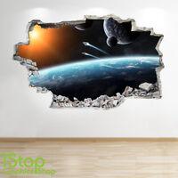 SPACE WALL STICKER 3D LOOK - MOON PLANET GALAXY STARS BOYS BEDROOM  Z330