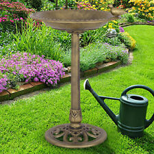 Antique Gold Freestanding Pedestal Bird Bath Feeder Outdoor Garden Yard Decor