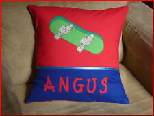 CHILD'S/BOYS PERSONALISED NAME CUSHION COVER/NURSERY/SHOWER/GIFT  - SKATEBOARD -
