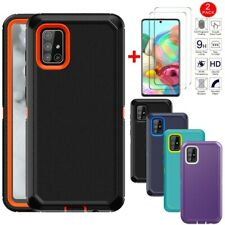 For Samsung Galaxy A51 A71 4G Phone Case Shockproof Armor Cover+Tempered Glass