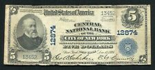 1902 $5 THE CENTRAL NATIONAL BANK OF THE CITY OF NEW YORK, NY CH. #12874 (C)