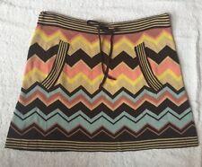 MISSONI TARGET Skirt Sz S Knit Drawstring Waist Zigzag Chevron Multicolor Print