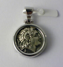 ALEXANDER THE GREAT MEDIUM PENDANT GREEK COIN SOLID STERLING SILVER 925 CODE 21