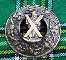 "Traditional Kilt Fly Plaid Brooch St Andrerw Antique Finish 3""/ST Andrew Brooche"