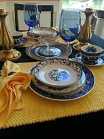 Vintage Mismatched 24 Piece Set for 2 Blue Willow, English Toile, Lusterware