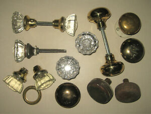 Mixed Lot of Old Antique Vintage Door Knobs Glass Crystal Wood Brass Plated