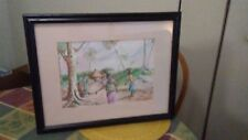 """Liberia Village Watercolor 19 1/2"""" w by 16"""" h signed by artist Brima Wolobah"""