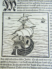 Einzelblatt aus COSMOGRAPHIA 1550: Holzschnitt MERIDIAN & Schiff / Schifffahrt