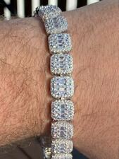 Men's Real Solid 925 Silver Baguette Tennis Bracelet Iced Diamond Flooded Out