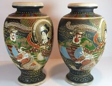 "SUBSTANTIAL PAIR OF 10"" JAPANESE SATSUMA HAND PAINTED & ENAMELED VASES"