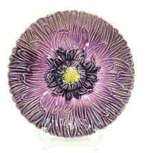 Antique French BARBOTINE Majolica Plate PURPLE DAHLIA Violet Flower 8-3/4''