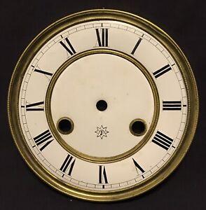Vintage Antique Brass & Porcelain Clock Face
