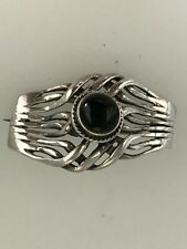 Vintage 925 Silver Brooch set with a Black Onyx