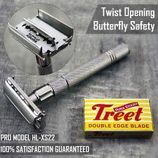 Haryali London Double Edge Safety Razor - Twist To Open Butterfly Design+Blades