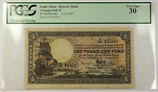 1945-47 3.11.1947 South Africa 1 Pound Note SCWPM# 84f PCGS VF-30 (A)