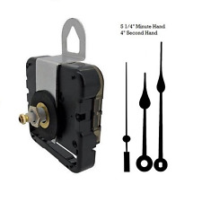 "Seiko-SKP Clock Movement Mechanism With 5 1/4"" Black Spade Hands for 1/4"" dials"