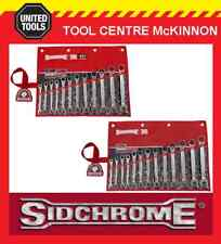 SIDCHROME 25pce PRO SERIES GEARED RING & OPEN END METRIC & A/F SPANNER / SETS